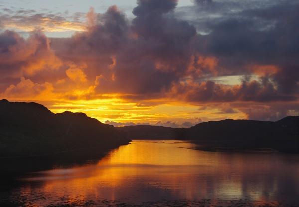 Sunset over Loch Inshard, Sutherland, Scotland. by IanLuckock