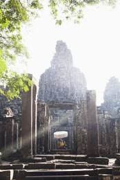 Golden sun rays Bayon Temple Siem Reap Cambodia
