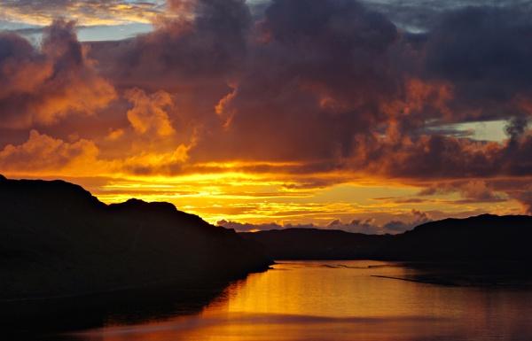 Sunset over Loch Inshard II, Rhiconich, Sutherland, Scotland by IanLuckock