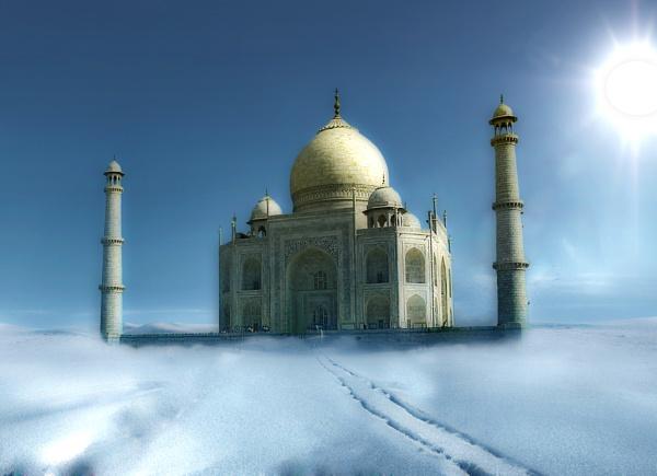 Tajmahal on snow by Sushanta