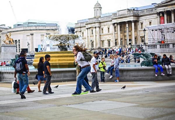 Hoverboarding through Trafalgar Square by Anatoleya