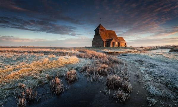 Fairfield. Sunlight strikes the Church by derekhansen