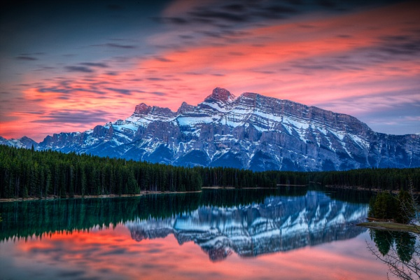 Sunrise at Two Jack Lake, Alberta, Canada by pgoodwill