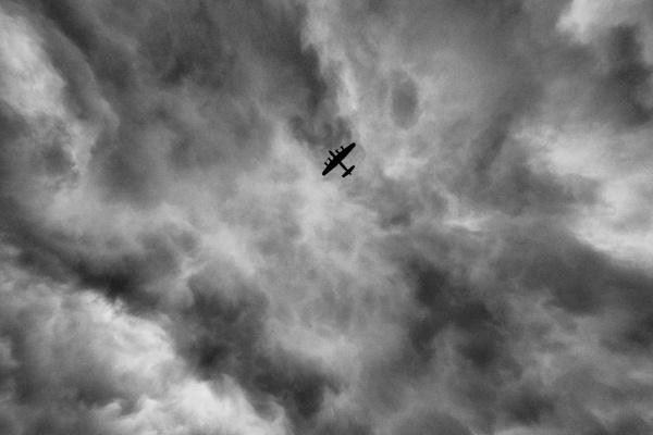 Lancaster Dambusters anniversary flypast at RAF Museum Hendon by stevedigip