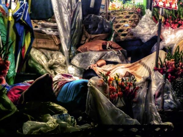 Flower Sellers Sleeping - Downtown Cebu by Hamlin