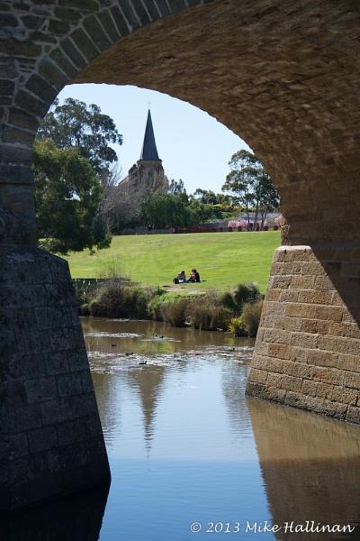 Anglican Church through an arch of the road bridge, Richmond, Tasmania by DRGW497