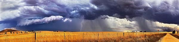 Burra Lightning Panorama by STOCKSHOTS4U