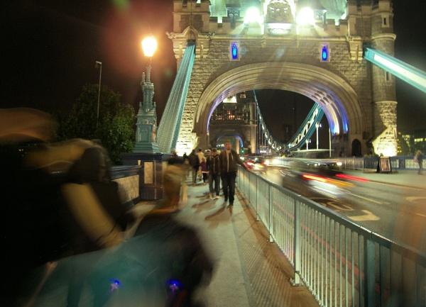 Crossing Tower Bridge at Night by Hamlin