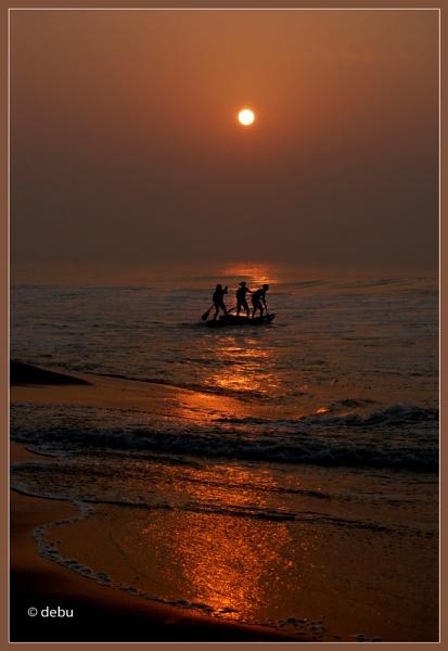 Fishing at Puri Sea beach(India). by debu