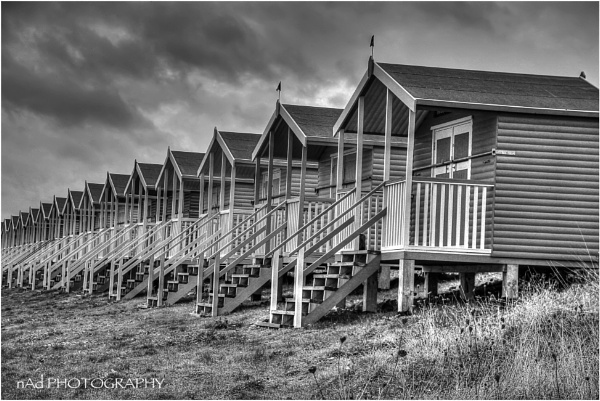 "Beach Huts in monochrome ""Simple\"" by NDODS"