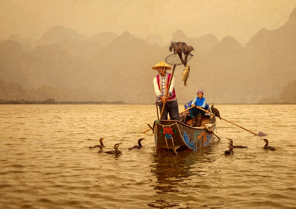 Cormorant Fishing on the Lake V2 by JaneMIchelle