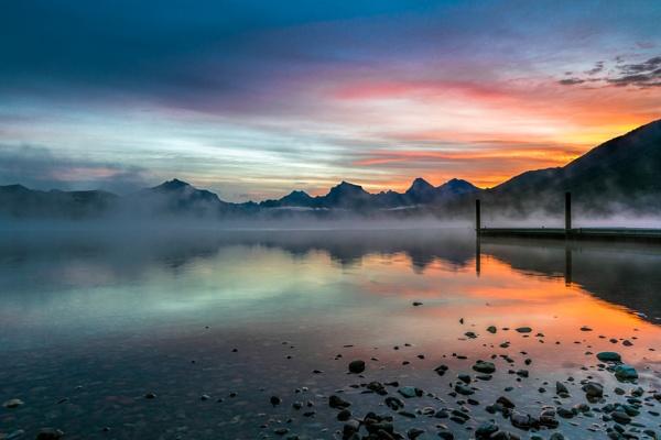 Sunrise from Apgar across Lake McDonald by Phil_Bird