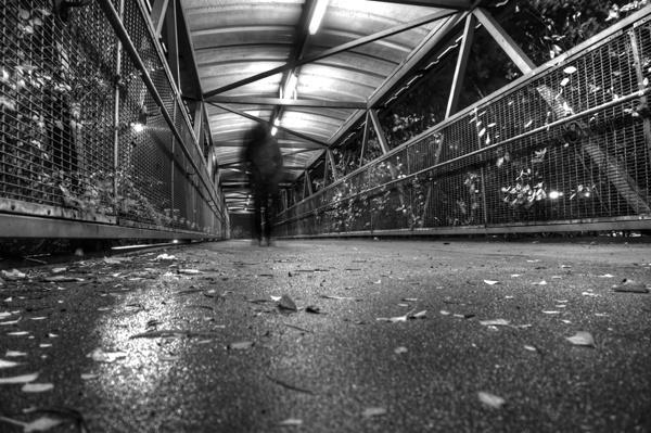 Urban footbridge at night by rigsby8131