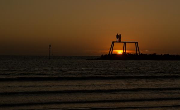 Watching the sun rise - Newbiggin by tyronet2000