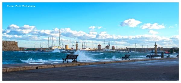 Winter scene at Rhodes\'s harbor by GeorgePlatis