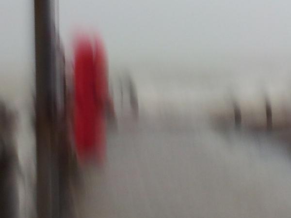 Driving rain drove into lens by rainfall