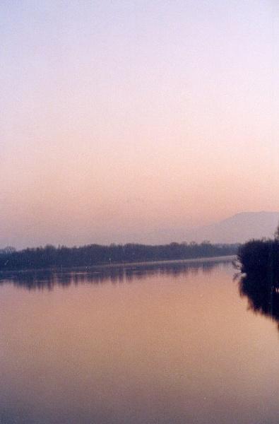 The River Rhône,View from the Bridge of the Kingdom,entering VILLENEUVE LES AVIGNON by SabineFaureSAMlle