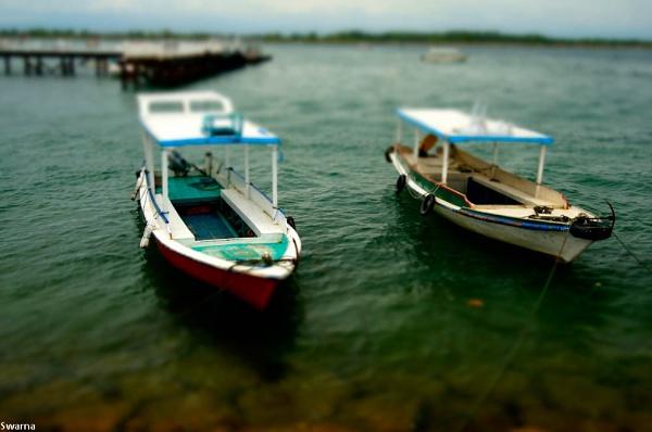 Boats at Turtle Island - Nusa Dua, Bali Indonesia by Swarnadip