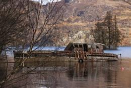 Sunken boat on Loch Ness. Scotland