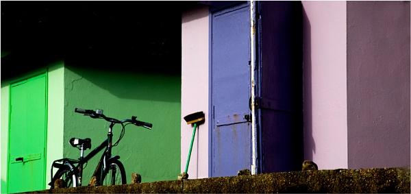 Bike, broom & beachhuts by saltireblue