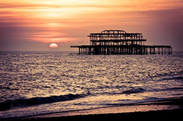Brighton West Pier sunset by zippy123