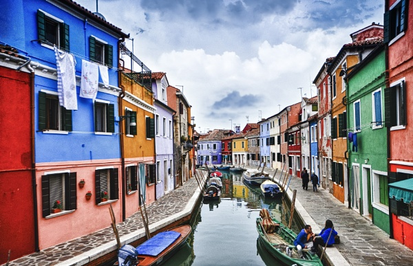 Burano morning by watercolor