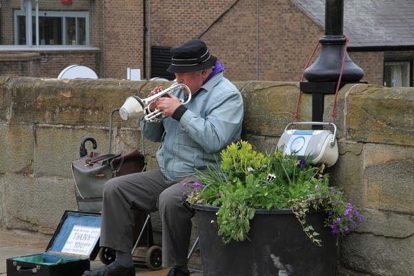 Trumpet player Durham city by bobsblues