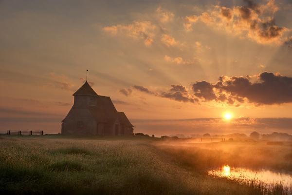 Fairfield church sunrise by rjlaker