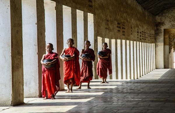 Monks in Bagan Myanmar by NathalieM