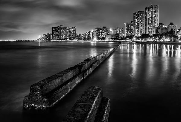 Waikiki Break Water - black and white by david1810