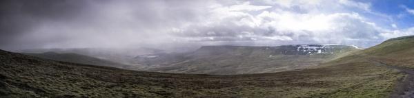 Sleet, hail and rain approaching Pen Y Fan by Pj0