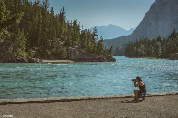 The Photographer - Bow Falls, Banff, Alberta by Swarnadip
