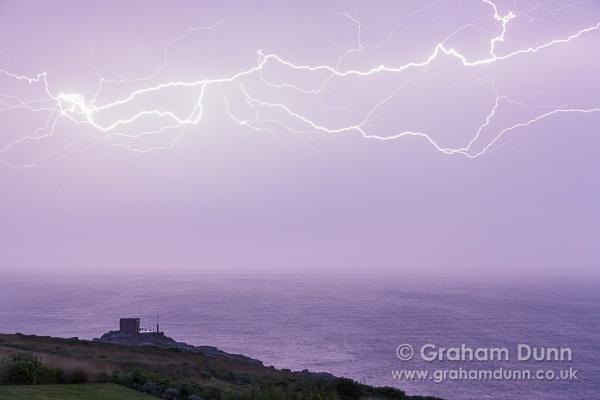 Lightning bolt over Mayon Lookout, Sennen Cove - Cornwall by grahamdunn
