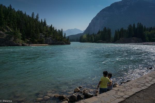 Two of us -  Bow Falls, Banff, Albereta by Swarnadip