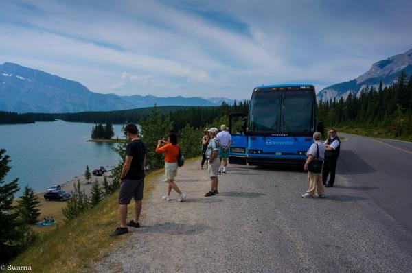 Tourists at Banff, Alberta by Swarnadip