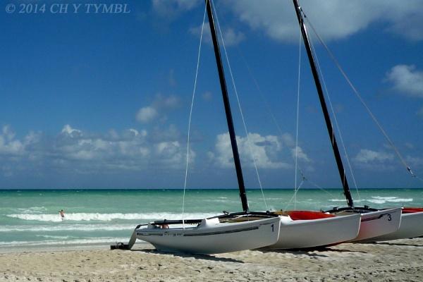 Catamarans on Caribbean Beach