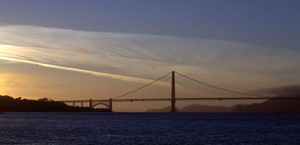 Sunset over Golden Gate Bridge by ladigit