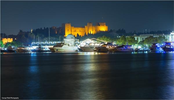 Rhodes harbor by night by GeorgePlatis
