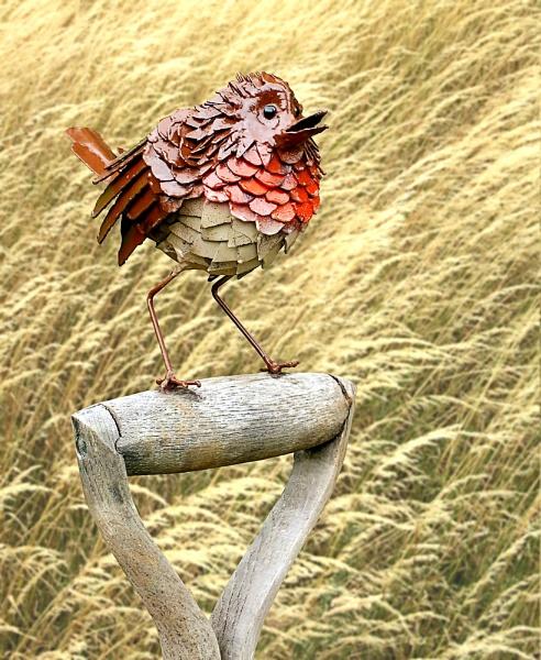 Robin on a Fork by pamelajean