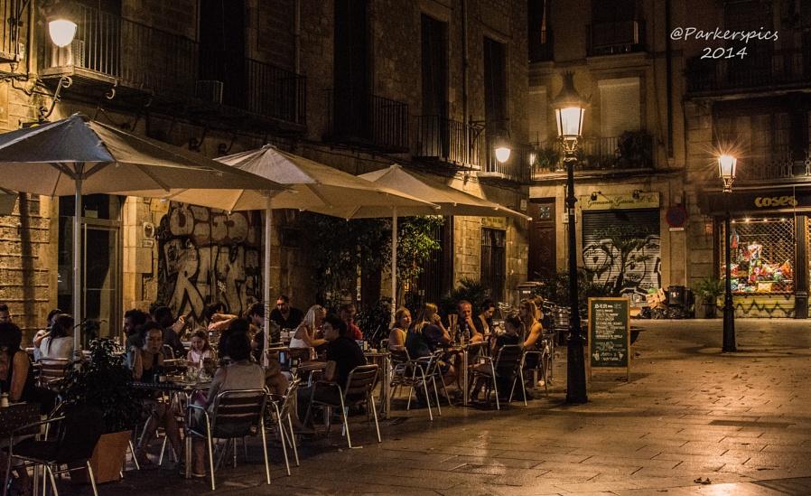 Barcelona Street Cafe at Dusk