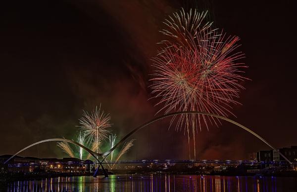 Stockton Fireworks At Infinity Bridge by HUFC
