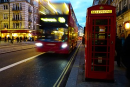 Red BUs and Pillar Box, The Strand