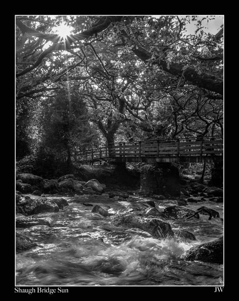 Shaugh Bridge Sun by jer