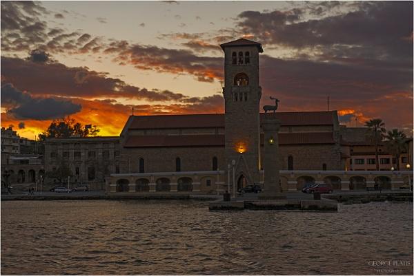 """Sunset at \""""Evangelismos tis Theotokou\"""" church by GeorgePlatis"""
