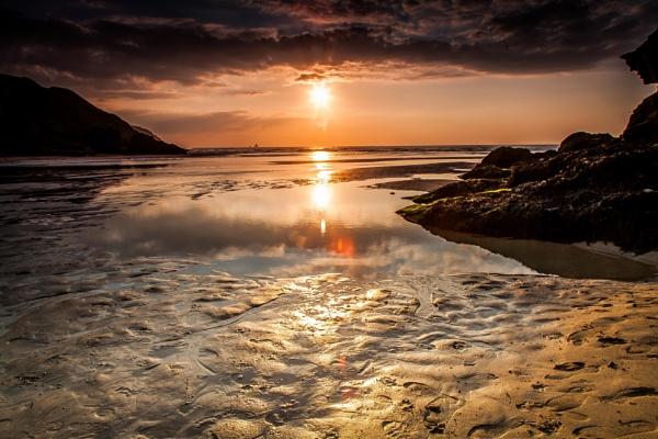 Sunset on Perranporth Beach Cornwall by Hailwood