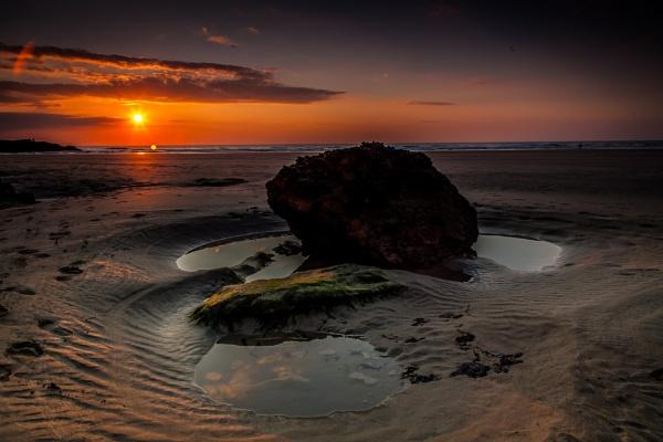 Perranporth Rock Pool Sunset by Hailwood
