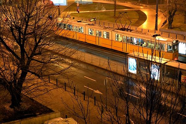 Yellow tram, Budapest by Laslo
