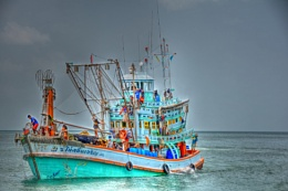 The colourful fishing boats of Ko Samui