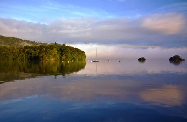 Mist at Dawn over Windemere by Mynett