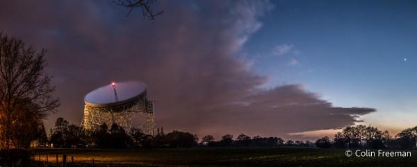 Jodrell Bank with Jupiter rising by cfreeman